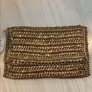 Gold straw clutch